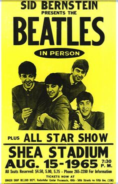 """Amazon.com : The Beatles At Shea Stadium 14"""" X 22"""" Vintage Style Concert Poster : Prints : Everything Else"""