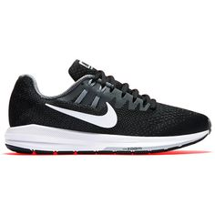 Nike Air Zoom Structured 20 Women's Running Shoes , Black/White/Grey (165 CAD) ❤ liked on Polyvore featuring shoes, athletic shoes, grey shoes, black white shoes, nike athletic shoes, honey comb and white and black shoes
