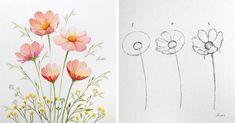 egy-sikeres-muveszno-megmutatja-hogyan-rajzolhatsz-egyszeruen-olyan-viragokat-mint-a-festok Instagram, Drawings