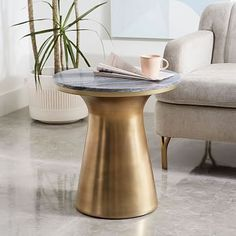 Marble-Topped Pedestal Side Table - Gray Marble/Antique Brass #westelm