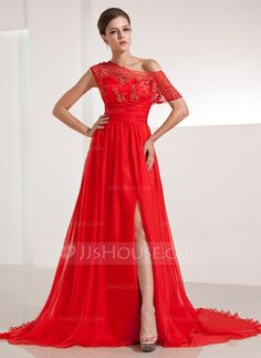 A-Line/Princess Off-the-Shoulder Chapel Train Ruffle Appliques Lace Split Front Zipper Up at Side Sleeves Short Sleeves No Red Winter Spring Summer Fall General Plus Chiffon Evening Dress