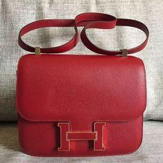 Hermes Constance 24 Rouge Grenat epsom with gold-Rouge Grenat enamel buckle