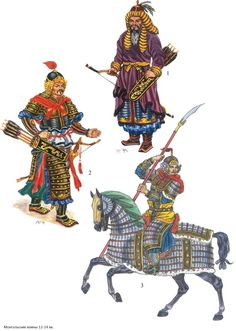 Mongol warriors, 13th cent. - illustrations by Kaliolla Akhmetzhan