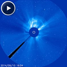 Incoming!  A strong solar flare from sunspot AR2158 launched a coronal mass ejection (CME) toward Earth, as photographed in this video from NASA's Solar and Heliospheric Observatory (SOHO). The impact is likely to cause auroras by this weekend. Via SpaceWeather.com.