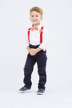 566f053ec Items similar to Red Suspenders   Peach Coral Bow Tie for Baby Toddler Boy  Men on Etsy. Ring Bearer ...