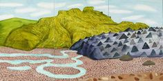 David Hockney,The Black Glacier, 2002 Watercolor on 6 sheets of paper (18 x 24″ each) 36 x 72″ overall
