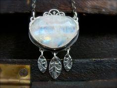 moonlit garden  rainbow moonstone pendant by sirenjewels on Etsy, $178.00