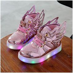 Alamana Fashion Kids Girls Rhinestone Bowknot LED Light Anti-Slip Casual Shoes Gift White 21