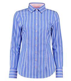 65d0b0c51b952 Women s Blue   White Stripe Fitted Shirt - Single Cuff
