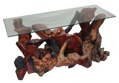 Redwood Burl console table