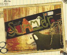 "Primitive Folk Art Wool Applique Pattern:  ""SUMMER"" WOOL RUNNER"