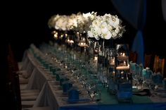 Table design with white orchids by Hawaiian event design company Yvonne Design