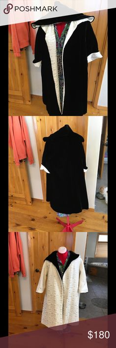 🍀1950's black velvet opera cape🍀 1950's Velvet and silk brocade hooded opera coat circa 1950's (maybe earlier) Reversaable velvet and satin hooded coat Black silk velvet white satin brocade (pockets on the white side) Slight staining on left sleeve of white side (pictured, look at additional pics please) Appears to be handmade, no label Fantastic condition  fairly free sized   Smoke free, cat and bird friendly home Vintage Jackets & Coats Capes