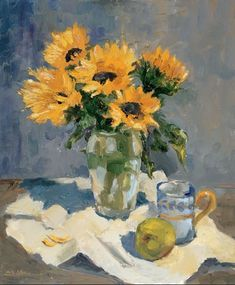 Sunflowers and mug with fruit See more at:  http://www.DianeStoneArt.com #art #paintings
