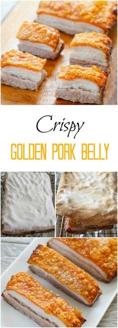 Crispy Golden Pork Belly - Kirbie's Cravings - make a salt crust, bake, remove salt crust, magic Chinese Chicken Recipes, Easy Chinese Recipes, Best Pork Belly Recipe, Pork Recipes, Cooking Recipes, Crispy Pork Belly Recipes, Cooking Tips, Sauce Recipes, Easy Recipes