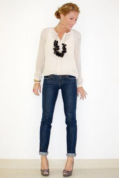 Pretty blouse + rolled-up skinny jeans + statement necklace + peep-toe stilettos