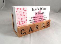 Scrabble Tiles Cards Business Card Holder Upcycled by tarasdinos Scrabble Letras, Scrabble Cards, Scrabble Letter Crafts, Scrabble Kunst, Scrabble Tile Art, Scrabble Coasters, Shadow Box Baby, Business Card Displays, Business Card Holders