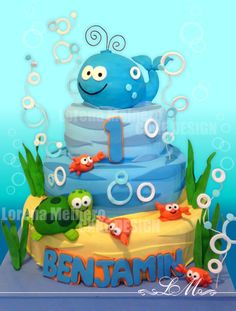 torta fondo del mar Whale Cakes, Sea Cakes, Under The Sea Theme, Under The Sea Party, Baby Boy Cakes, Cakes For Boys, Cake Background, Happy B Day, Creative Cakes