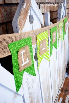 No Sew Banner. The girls did something cute like this for a bridal shower at our house. It looked so nice and was simple.