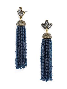 The deep navy color will really look perfect with your hot pink dress. #baublebar #swatstyle #earrings Navy Earrings, Beaded Tassel Earrings, Tassel Jewelry, Beaded Bracelets, Jewellery, Handmade Jewelry Tutorials, Diy Jewelry Inspiration, Style Inspiration, Friend Jewelry