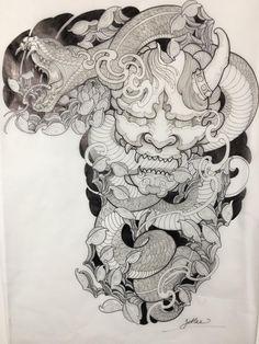 Japanese Snake Tattoo, Japanese Dragon Tattoos, Japanese Tattoo Designs, Japanese Sleeve Tattoos, Japan Tattoo Design, Tattoo Design Drawings, Tattoo Sleeve Designs, Foo Dog Tattoo Design, Dragon Koi Tattoo Design