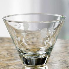 DISCONTINUED 1-1-14 ::#6754 ::: STEMLESS MARTINI GLASS ::: A clever, space-saving design makes these Martini Glasses unique! Stemless glasses are a conversation piece ― plus their modern design minimizes spills and allows them to stack for compact storage. Also great for serving desserts, appetizers or snacks like peanuts. Set of 4 - 11 oz. ea. $39.95 lynnebeveridge@myprincesshouse.com