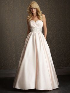 A-line Sweetheart Satin Sweep Train Beading Wedding Dresses Shop uk