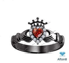 1.30 CT Heart Shape Red Garnet 14K Black Gold Plated Claddagh Crown Wedding Ring #Affoin8 #HeartShapeWomensEngagementRing