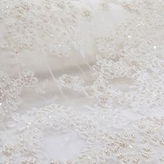 """Off-White Beaded French Lace- 34"""" Wide; 1 yard"""