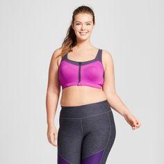 Women's Plus-Size Power Shape Max Support Front-Close Sports Bra - C9 Champion Purple Reef & Purple Stone Gray 44D
