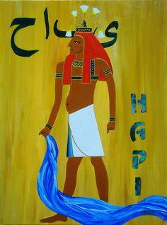 "Series ""Ancient Egyptian Gods"":  ""HAPI"" -  Acyrilc on canvas-covered Cardboard, 30x40 cm - For Sale!"