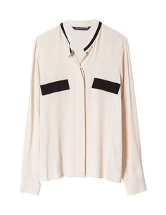 BLOUSE WITH CONTRASTING POCKET FLAP - Stock clearance - Woman - Sale | ZARA United States