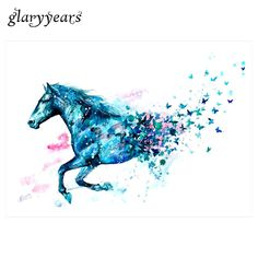 1 Piece Watercolor Drawing Waterproof Tattoo KM-045 Simulation Blue Horse Butterfly Pattern Temporary Tatoo Sticker for Body Art