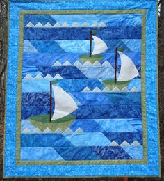 Nautical Sailboat Quilt by Jackiesewingstudio on Etsy  Great idea for a baby/charity quilt!