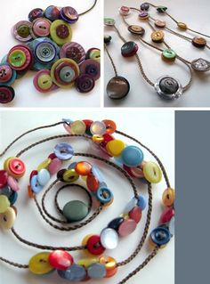 modamuse :: independent modern australian and nz designers, artisans & crafters,  these candy coloured button necklaces threaded by three NZ ladies Lisa Perigo, Pippa Lee and Tanea Chapman