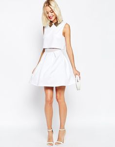 Image 4 of ASOS Embellished Beaded Collar Skater Dress