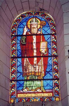 Eglise Saint-Martin à Bournan (37240) - Le vitrail de Saint-Martin évêque (date de 1868, fait par Guérithault à Poitiers).
