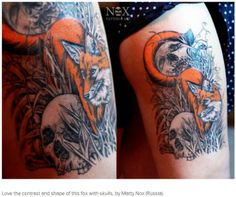 Love the contrast and shape of this fox tattoo with skulls, by Matty Nox (Russia).