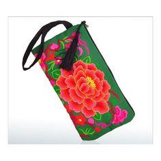 Yunnan Embroidery Woman's Bag Handbag Comestic Bag Coin Case Embroidery Handbag (Big Size) green