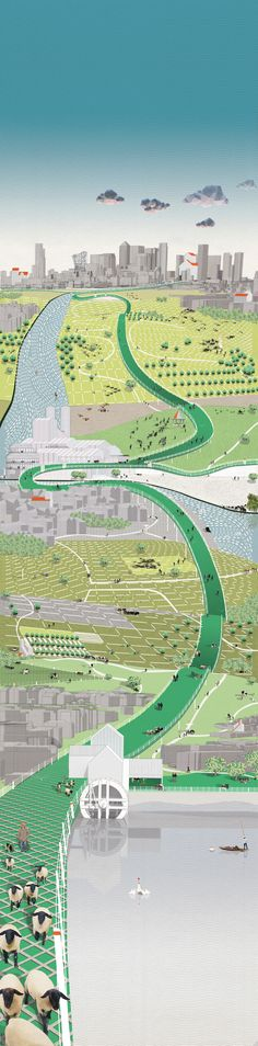 Graphic Architecture Porn - The Great British [Un]Smart City, An Alternative Smart-ish City Vision for London Taylan Tahir Collage Architecture, Architecture Graphics, Architecture Student, Architecture Drawings, Landscape Architecture, Landscape Design, Photomontage, Rendering Drawing, Royal College Of Art