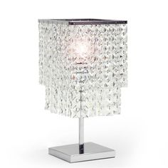 Baxton Studio Gambille Modern Table Lamp with Glass Prism Shade