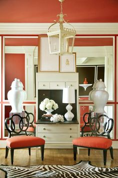 I love this secretary. The mirrored wall panels make the space appear larger than it is. Love the moulding between the panels. Tobi Fairley