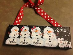 """Personalized Hand Painted Custom Canvas Snow Family 3""""x9"""" Ornament Wall Hanger"""