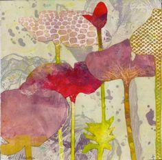Poppy Patterns 5 monoprint and photo etching
