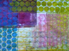 Frieda Oxenham: Gelli Plate Printing: But of course there is also another alternative and that is to use your gelli plate to print directly onto fabric. I was recently asked what paint I use and I use a mixture of acrylics and fabric paint. I'm not really bothered about wash-ability as my quilts are all meant to go on the wall so that isn't an issue for me.
