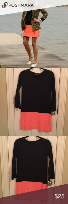 JCrew Color Block Dress Navy and coral color block dress with 3/4 sleeve and side zip detail J. Crew Dresses