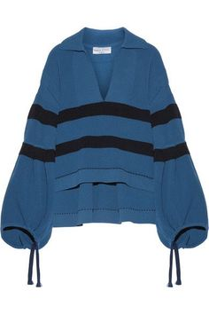 SONIA RYKIEL Oversized striped ribbed stretch-knit sweater. #soniarykiel #cloth #knitwear