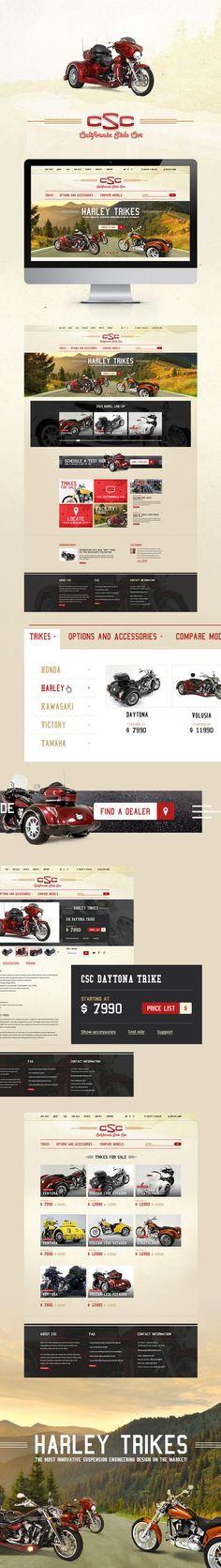 Web design. California Side Car. Motorcycle.