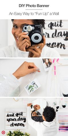 Polaroid photos don't always have to go up on fridges. Make a DIY banner with just three items: Polaroid camera. String Lights or twine string. Easy Diy Crafts, Diy Arts And Crafts, Crafts To Make, Polaroid Photos, Polaroid Camera, Polaroids, Craft Tutorials, Diy Projects, Gifts For An Artist