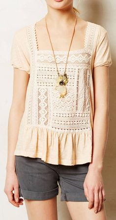 Anthropologie  Garment-Dyed Peplum Tee